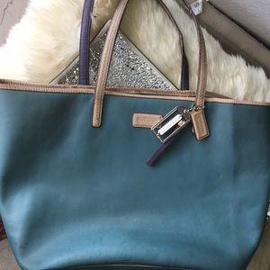 COACH F24341 Saffiano Green-Beige Leather Tote ❤️